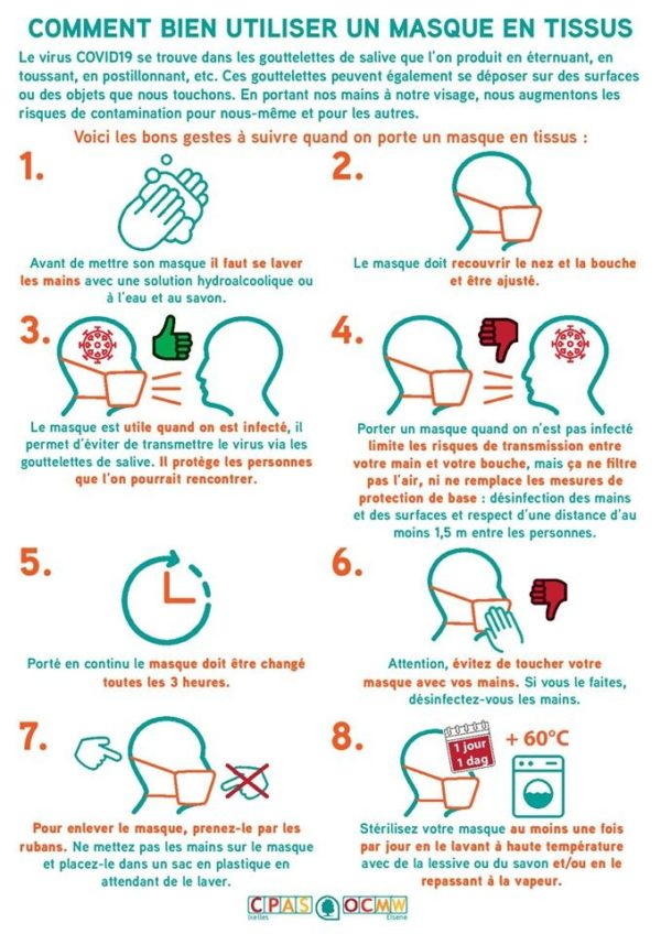 consignes d'utilisation masques en tissu